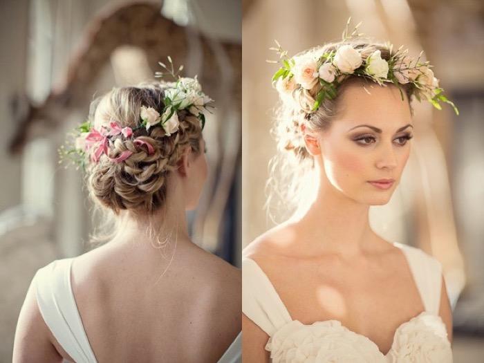 красивые прически на свадьбу с живыми цветами