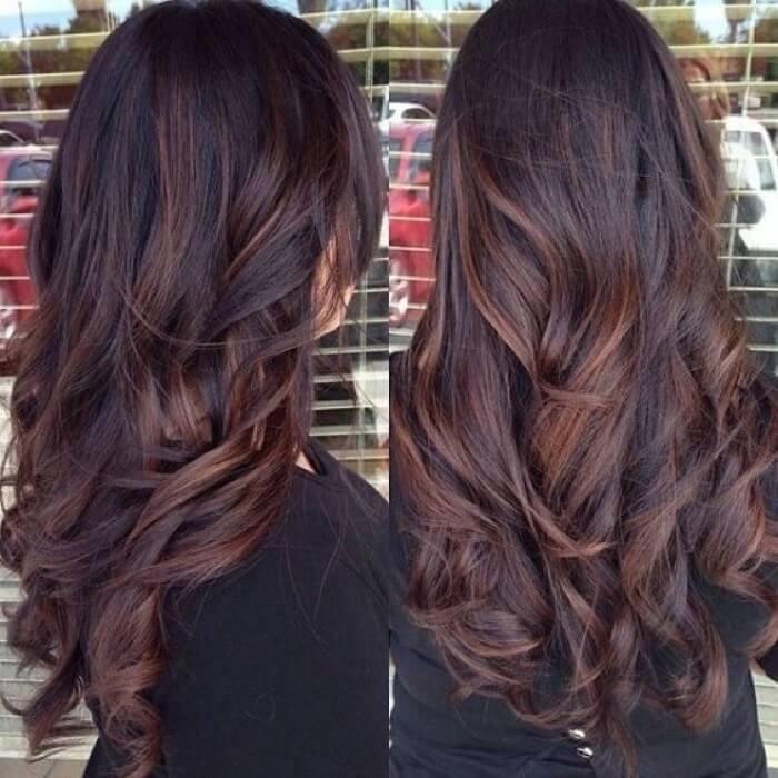 Мелирование в три цвета на темные волосы