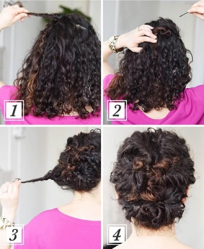 Прически с кудрявыми волосами на средние волосы