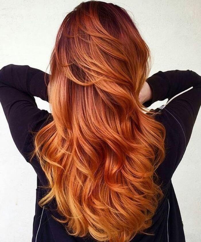 Омбре волос с рыжим цветом