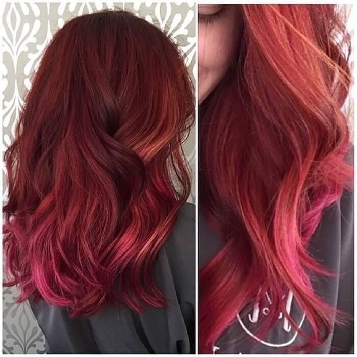 Омбре с рыжим цветом на длинные